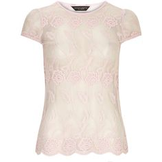 Dorothy Perkins Pink embroidered lace top ($18) ❤ liked on Polyvore featuring tops, shirts, blouses, t-shirts, blusas, pink, scalloped lace top, pink lace top, lace camisole and lace cami