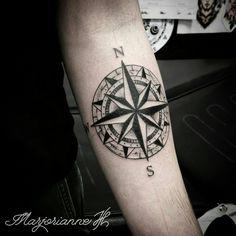 Compass tattoo by Marjorianne