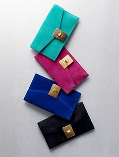 chic mulitcolor leather clutchs with gold closure via Talbots
