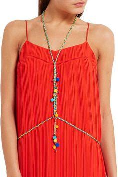 Rosantica - Michelita Pompom-embellished Gold-tone Quartz Body Chain - Blue - one size