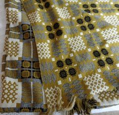 Rather nice mustard, grey, black and cream Welsh blanket, large double size. Welsh Blanket, Weaving, Caravan Ideas, Crochet, Textiles, Tapestry, Colours, Quilts, Wool