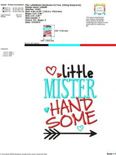 Embroidery design 5x7 6x10 Little Mister by SoCuteAppliques