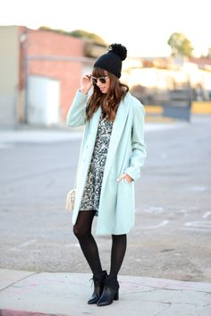 black and white dress with baby blue coat M Loves M @marmar