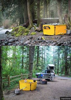 A portable hot tub you can take on your travels! Reminds me of how fire fighters set up a similar portable water reservoir if fighting a fire in a rural area, away from fire hydrants, etc. In any case--yes to this. Camping Bedarf, Camping Survival, Camping Hacks, Camping Gadgets, Camping Recipes, Camping Stuff, Camping Essentials, Backpacking, Outdoor Life