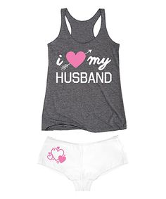 Look at this Athletic Gray 'I Heart My Husband' Tank & White Hipster on #zulily today!