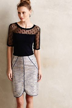 To Work: Detailed top with a sleek pencil skirt.
