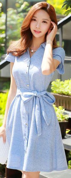 StyleOnme_Collared Tulip Sleeve Ribbon Waist Tie Flared Dress #blue #dress #ribon #buttons #collared #tulip #short #sleeve #spring #summer #koreanfashion #cute #feminine #girly #kstyle #seoul