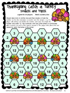 Thanksgiving Math Games Second Grade by Games 4 Learning - No Prep Thanksgiving math games - 14 printable games that review a variety of second grade skills. $