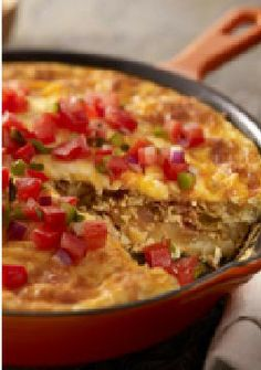 Chorizo, Potato & Green Chile Omelet – Made with green chiles and red salsa, this Mexican-style omelet gets festive style points. It's hearty, too, thanks to chorizo and hash brown potatoes.