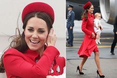 Catherine, Duchess Of Cambridge Tour Australia/New Zealand Day-1 on April 7, 2014 in Wellington. Kate wears red Catherine Walker coat dress and has been loaned the Queen's silver fern brooch