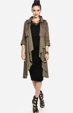 Line & Dot Flowy Trench Coat. If camo isn't your style, then try the trend in an olive hued trench coat. Its a beautiful and versatile investment piece that'll look just as great atop a black bodycon dress as it would over a t-shirt and jeans.