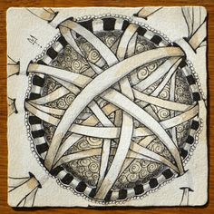 Tea stained shading on a #Zentangle tile with Holibaugh & Scoodles by Maria Thomas