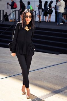 Blouse by Tibi, Trousers by Manoukian, Heels by YSL, Sunnies by Prada, Purse by Celine, Necklace by Oscar de la Renta. Love this outfit. I'm a sucker for black on black