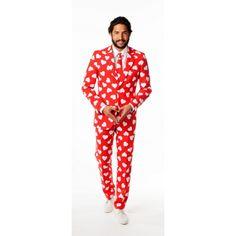 Rood getailleerd pak voor heren met een all-over harten print. Het pak is gemaakt van hoogwaardig polyester en wordt geleverd met een bijpassende stropdas. Voor de modebewuste hartendief. Carnavalskleding 2015 #carnaval
