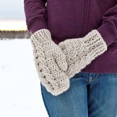 CROCHET PATTERN Cable Mittens and Cowl Crochet Pattern by Mamachee