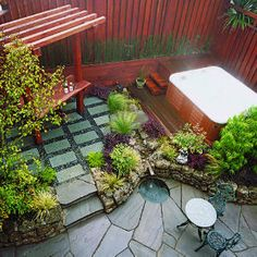 40 ideas for patios | Small space patios | Sunset.com  large different shaped stones for floor area?