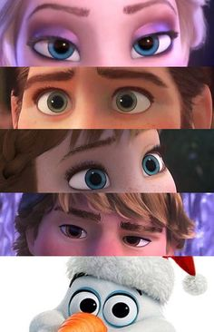 """Elsa: The freedom look. Hans: The """"I'm evil but i'm awesome at covering it up"""" look. Anna: The """"Curious"""" look Kristoff: The Amused """"I'm gonna tell him"""" look. Olaf..... The """"Hello, I'm Olaf and I like warm hugs!"""" look."""