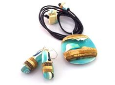 Wood and Resin Pendant and Earrings, Aqua blue- turquoise