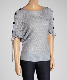 Another great find on #zulily! Gray Pointelle Drawstring Sweater by Hadari #zulilyfinds