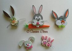 #papercraft #quilling - Quilled Bugs Bunny, etc. - by: Simona Elena