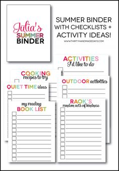 Printable Summer Binder- create a binder full of fun for your kids this summer! Beat the boredom blues. Printables for each section included.