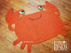 Crochet Pattern PDF for making a cute Crab Sea Creature Animal Rug or Nursery…