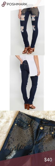 Rhinestone Skinny Jeans Experience a perfect fit unlike any other with unrestricted movement and comfort. Made with flex denim, this curvy skinny jean features a grid of rhinestone studs across the hips and rips. Sits low on waist. Fitted throughout leg. Stretches to conform to your movements. Approx. 12 in. leg opening Approx. 31 in. inseam 73% cotton, 25% polyester, 2% spandex Model wears size 7/8 twentyone black Jeans Skinny