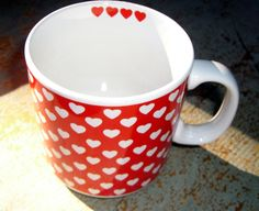 Vintage Mugs Hearts White and Red Heart Mugs / Cups by TheBackShak