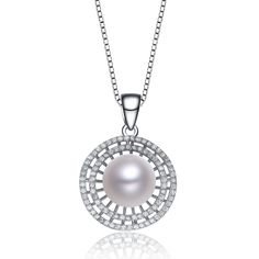 MSRP: $199.99    Our Price: $119.99    Savings: $80.00         Item Number: PEN5724     Availability: Usually Ships in 5 Business Days              Product Description:    Featuring a luminous round pearl wrapped in orbs of CZ's this pendant is feminine elegance at its finest. A freshwater pearl is framed in CZ accents and fashioned from sterling silver. It comes with an 18 inch chain and has a spring ring closure.         Features:      	   	Crafted in Sterling Silver  	Freshwater Cultured…