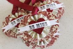 Valentine Gift Tags Be Mine Favor Tag French  Shabby Chic Gift Wrap Vintage Red Damask Paper Rosette glitter heart by HoggBarnAntiques, $6.00