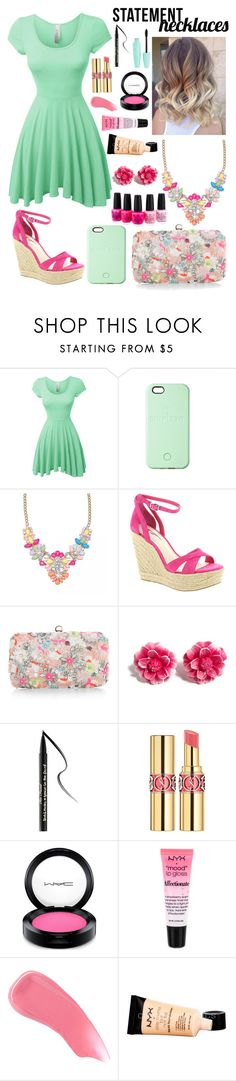 """""""Collared! Statement Necklaces"""" by ariannajohnston ❤ liked on Polyvore featuring LE3NO, SnapLight, BCBGeneration, Accessorize, Tarina Tarantino, Too Faced Cosmetics, Yves Saint Laurent, MAC Cosmetics, NYX and Hourglass Cosmetics"""