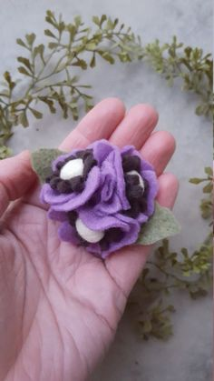 Purple Poppy felt flower headband or hair by LavenderLeafDesigns