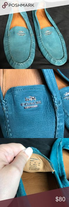 Coach Nancy Blue Suede Loafers! Size 9! A little bit of wear on them but not noticeable. So comfortable! Good condition: 8/10 Coach Shoes Flats & Loafers