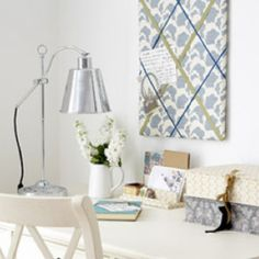 Make a fabric noticeboard  http://www.allaboutyou.com/craft/knit-free/make-a-stylish-noticeboard-49569