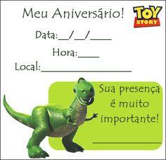 Convite Toy Story - Rex - Aniversário infantil « Aniversário de Criança