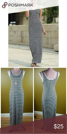 Black and White Striped Maxi Dress Nice and comfy tank maxi dress in black and white stripes. Soft cotton material. Tag displays a size larger than the actual fit. Please see measurements below.   XSmall - Bust: 29.92 inches, Waist: 25.98 inches, Hips: 33.07 inches, Length: 55.12  Medium - Bust: 33.07 inches, Waist: 29.13 inches, Hips: 36.22 inches, Length: 56.69 inches Dresses Maxi