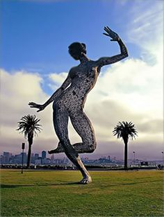 marco cochrane ~ dance bliss .. stands 40 feet tall, weighs 7000 pounds and is ingeniously constructed of triangulated geodesic struts .. treasure island, san francisco, california
