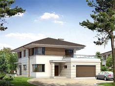 projekt Aplauz BSA1535 Modern Exterior House Designs, Architectural Design House Plans, Home Interior Design, Exterior Design, Plans Architecture, Architecture Design, Modern Family House, House Blueprints, Garage House