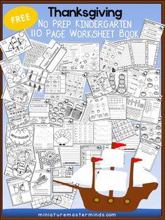 110 Page Free Thanksgiving No Prep Kindergarten Wo…