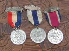 3 Edwardian Attendance Medals and Ribbons From by BiminiCricket, $45.00