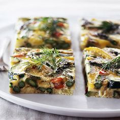 Crisp-tender asparagus and zucchini bring color to this crowd-pleasing breakfast casserole. Each serving only has 84 calories and 2 grams of fat.