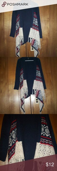 Tribal Crotched Cardigan Navy Blue, Red, & Tan Tribal Crotched sweater cardigan  -100% Acrylic -wore twice Rue21 Sweaters Cardigans