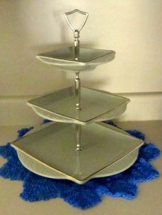 Vintage Mint Colored Ceramic Three Tier Cake by WhenRosesBloom, $52.00
