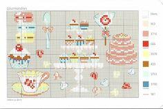 0 point de croix grille et couleurs de fils gourmandises, macarons gateaux et cupcake