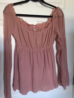 Sweet Pea Soft Pink Off Shoulder Ruffle Semi Sheer Long Sleeve Nylon Blouse Sz M | Clothing, Shoes & Accessories, Women's Clothing, Tops & Blouses | eBay!
