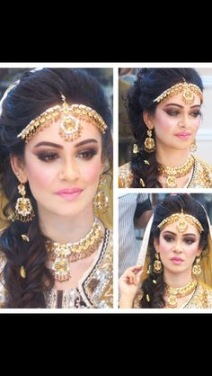Makeup by natasha Indian Wedding Hairstyles, Bride Hairstyles, Hairstyle Ideas, Ethnic Jewelry, Indian Jewelry, Jewellery, Wedding Hair And Makeup, Hair Makeup, Matha Patti Hairstyles