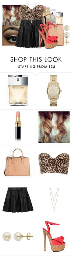 """""""Black leather skirt in a leopard print shirt, whoa. Skip dinner heading straight for dessert, woah oh."""" by jamilah-rochon ❤ liked on Polyvore featuring Michael Kors, AT&T, Chanel, Prada, Topshop, Karl Lagerfeld, Lord & Taylor and Giuseppe Zanotti"""