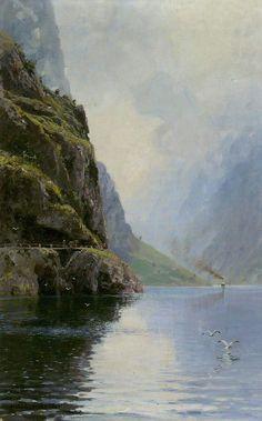 Hans Andreas Dahl (Norwegian, 1881-1919) Sognefjord. signature 'Hans Andreas Dahl.' (lower left) jpg (559×898)
