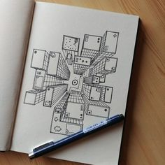 Doodle Art Drawing, Cool Art Drawings, Art Drawings Sketches, Pencil Art Drawings, Architecture Concept Drawings, Architecture Sketchbook, Art Sketchbook, Perspective Drawing Lessons, Perspective Art