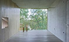 Haus Lux by Manfred Lux in Schlipsheim, Germany, Large windows frame the views, wood and concrete walls